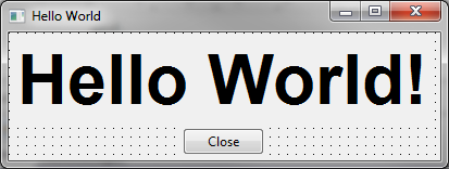 Screenshot from the GUI of the hello-world-program with Lazarus